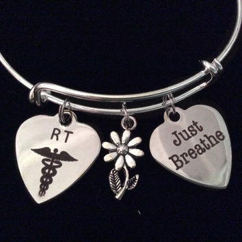 Respiratory Therapist Just Breathe RT Expandable Silver Charm Bracelet Bangle Medical Occupational Charm Trendy