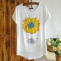 Sequin Abstract Flower Slim T-shirt