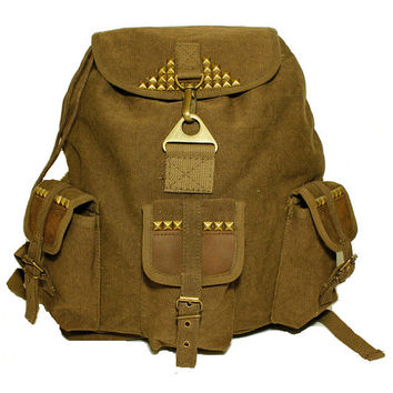 Studded Vintage Army Utility Backpack Brown Canvas with Leather Accents - Free Shipping