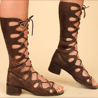 ViNtAgE 60's Leather Boots Cut Out Lace-Up Gladiator Mod Boots GoGo Festival Coachella sz. 7
