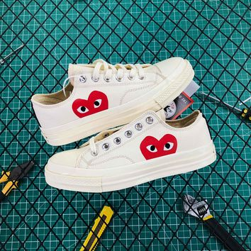 Cdg Play X Converse Chuck Taylor 1970s Low White - Best Online Sale