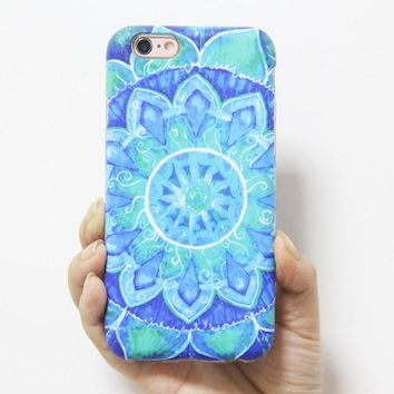 Turquoise Datura Floral Print Tough Protective iPhone XS Max Case Galaxy S8 plus S7 Edge SE Snap Case 237