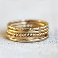 Gold stacking rings 14k set of 5 gold stacking rings