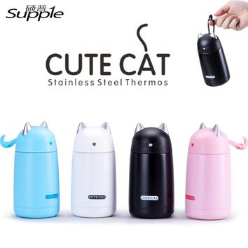 330ml Stainless Steel Cute Cat Thermos Travel  Insulation Water Bottle Drinkware Office Cup Vacuum Flasks Leak-proof Coffee Mug