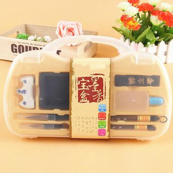Hot selling Chinese calligraphy brush pen set traditional weasel hair ink children brush box gift set special for the beginners