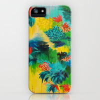 PARADISE WAITS - Beautiful Colorful Tropical Abstract Acrylic Painting Crimson Kelly Green Lagoon iPhone Case by EbiEmporium | Society6