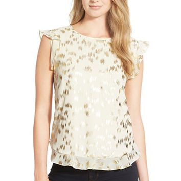 Women's CeCe by Cynthia Steffe 'Glimmer Edges' Flutter Sleeve Top,