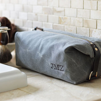 NO. 345 Personalized Dopp Kit, Slate Gray Waxed Canvas