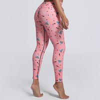 Victoria Triangle Print Pink Tights