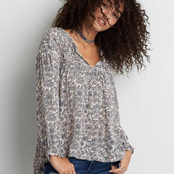 AEO Ruffle Peasant Top , White