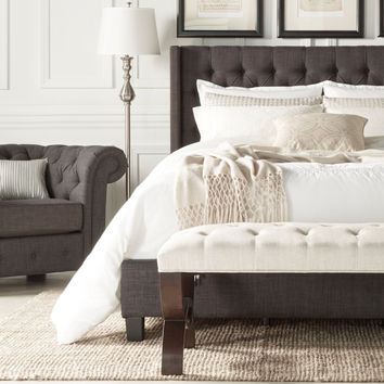 SIGNAL HILLS Naples Wingback Button Tufted Upholstered Queen-sized Bed | Overstock.com Shopping - The Best Deals on Beds