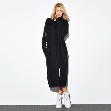 Casual Wide Collar Long Sleeve Button Front Midi Sweater