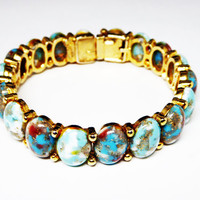 HAR Hinged Clamper Bracelet - Turquoise Art Glass Dragons Egg Style Speckled Cabochons - Brown, White & Gold Glitter - Bangle Style Vintage