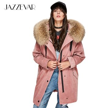 JAZZEVAR High Fashion new women's parkas detachable liner real raccoon fur oversize winter jacket corduroy coat loose clothing