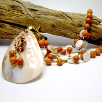 Statement Sea Shell Mother of Pearl Necklace by AnandaBijoux