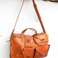 Vintage Leather Luggage , Crossbody , Travel Bag // Small // Handmade in Colombia