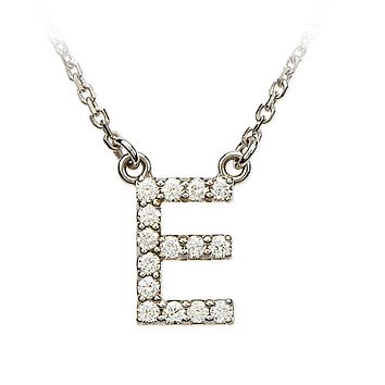 1/6 Cttw G-H, I1 Diamond initial Necklace in 14k White Gold, Letter E