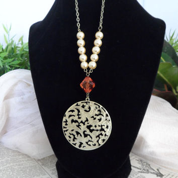 Steampunk Necklace, Beads, Faux Pearls, Bojo, Shabby Chic S04