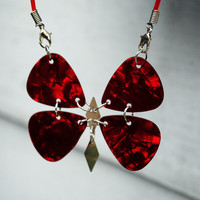 Red Guitar Pick Butterfly Necklace by 1023Designs on Etsy