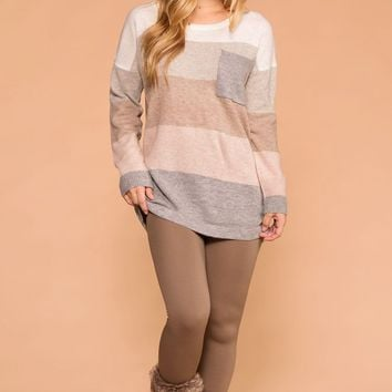 Marina Taupe Control Top Fleece Leggings