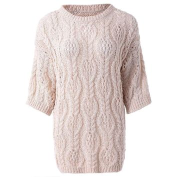Stylish Jewel Neck Half Sleeves Hollow Out Solid Color Sweater For Women