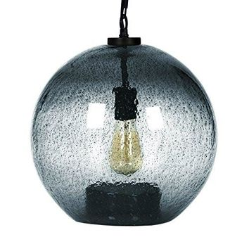CASAMOTION Black Metal Powder Contemporary Hand Blown Seeded Glass