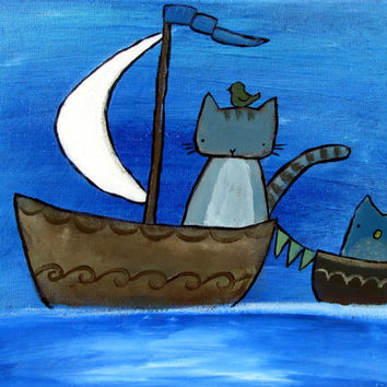 Whimsical Art, Kids Painting, Cat and Owl Nursery Decor
