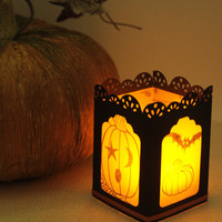 Halloween Paper Tealight Holder - Handmade Candle Holder - Party Luminary