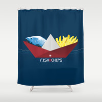 FishNChips Shower Curtain by Matt Irving