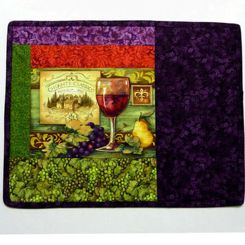 SALE - Bordeaux Provence Placemat Chianti Classico Glass Pear Reversible