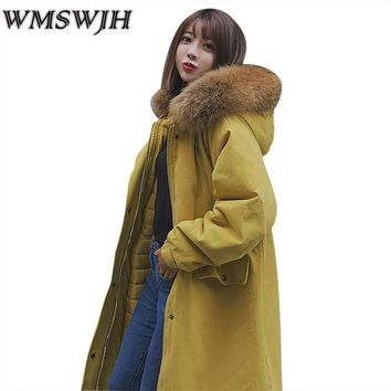 2017 New Fashion Winter Jacket Women Large Fur Collar Hooded Coat Warm Thicken Parka Female Plus Big Size Long Quilted Jacket
