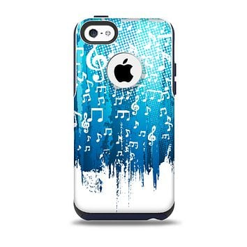 The Dripping Blue & White Music Notes  Skin for the iPhone 5c OtterBox Commuter Case