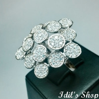 Authentic Turkish Ottoman Style Handmade 925 Sterling Silver Ring With Swarovski Stones.