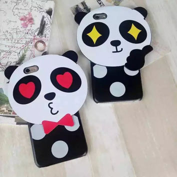 New 2016 Korean Cute Panda Girl Cell Cases For Apple iPhone 6 6s 6plus 6splus Phone Cases Women Kawaii Mobile Case Cover
