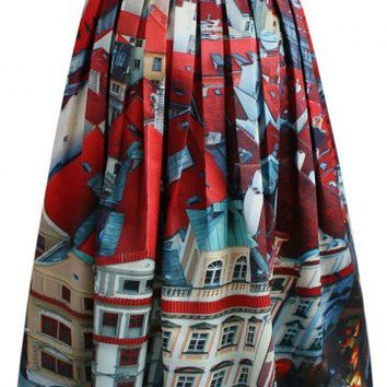 Pretty Panoramic Midi Skirt