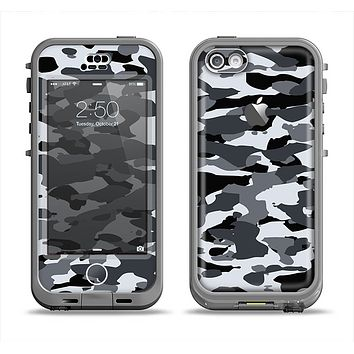 The Traditional Black & White Camo Apple iPhone 5c LifeProof Nuud Case Skin Set