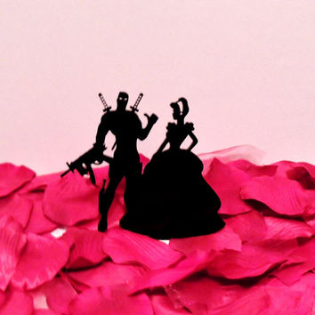 Stunning Cinderella and Dead Pool Wedding Cake Topper