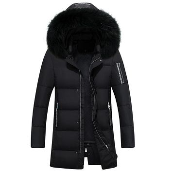 Winter Casual Thicken Warm Hooded Fur Jackets Men Slim Long White Duck Down padded Jacket