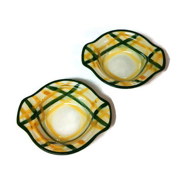 Vintage Vernon ware Gingham Lugged Chowder Bowl, Set of 2  Gingham Green Metlox Vernon Ware Pattern Bowls
