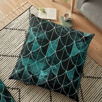 'Mermaid scales. Mint and black.' Floor Pillow by VanGalt