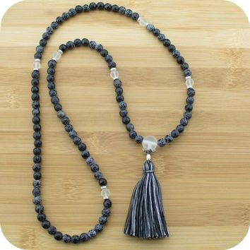 Faceted Black Fire Agate Mala with Matte Crystal Quartz