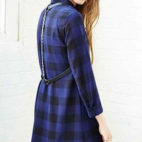 BB Dakota Keenan Plaid Chiffon Shirtdress- Blue