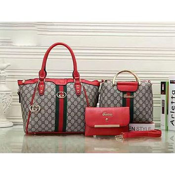 GUCCI Women Shopping Leather Handbag Tote Satchel Shoulder Bag Three-Piece