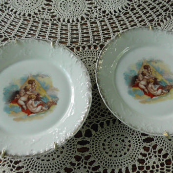 Angel and Cherubs Plate Victoria Austria Victorian Plates Shabby Cottage Chic Decor Beautiful Wall Hanging Dove