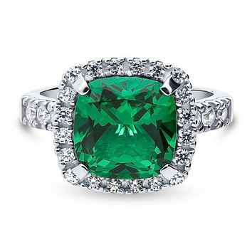 A Perfect 4.9CT Cushion Cut Green Halo Engagement Ring