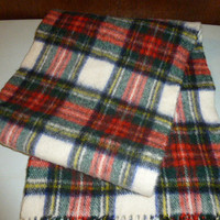 Mens Vintage Lambswool Dress Stewart Tartan Scarf Muffler Made in Scotland