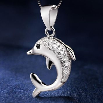 Sterling Silver CZ Dolphin Necklace