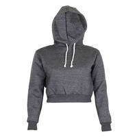 New Autumn Fashion Womens Long Sleeve Hoodies Sweatshirt Casual Loose Hooded Cropped Short Coat Jacket Pullovers Crop Tops