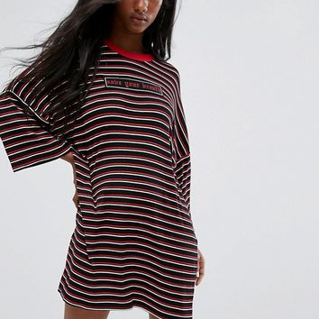 The Ragged Priest Oversized Save Your Breath T-Shirt Dress In Stripe at asos.com