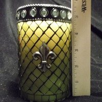 24 oz Glass Green Jewel Fleur-de-lis Vanilla Insanity Soy Candle
